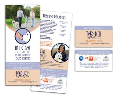 Business Card / Rip Card Graphic Design - Touch Dog Training - Unscribbled: Web and Graphic Design
