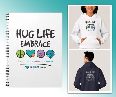 T-shirt design - Hug Life Embrace Peace, Love, Happiness, and Kindness